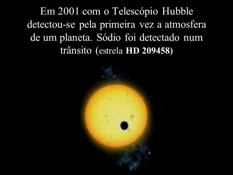 Em 2001 com o Telescópio Hubble detectou-se pela primeira vez a atmosfera de um planeta.