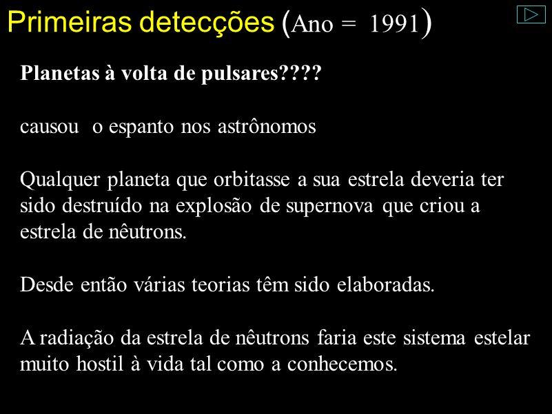 Primeiras detecções (Ano = 1991)