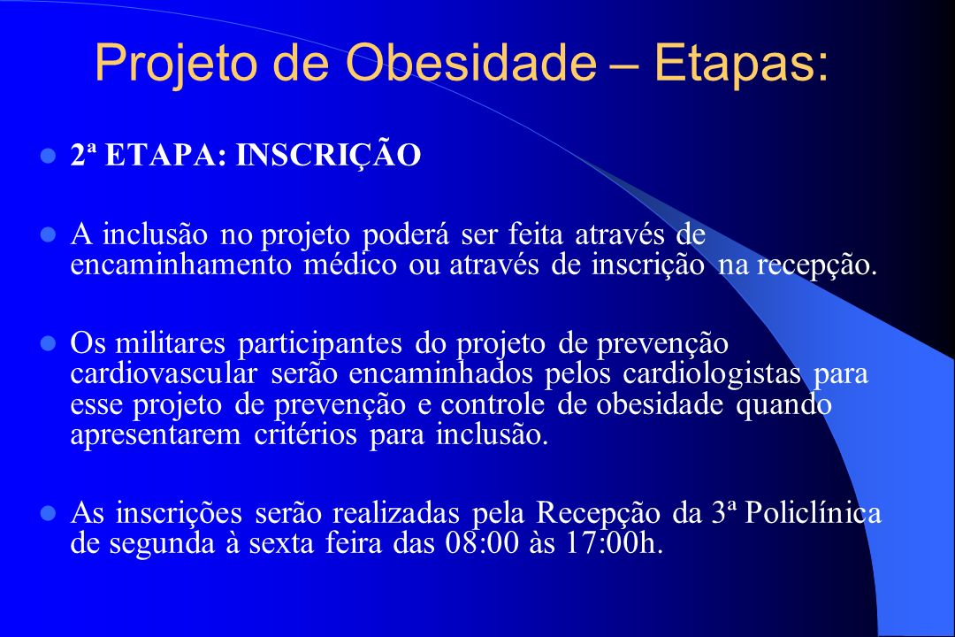Projeto de Obesidade – Etapas: