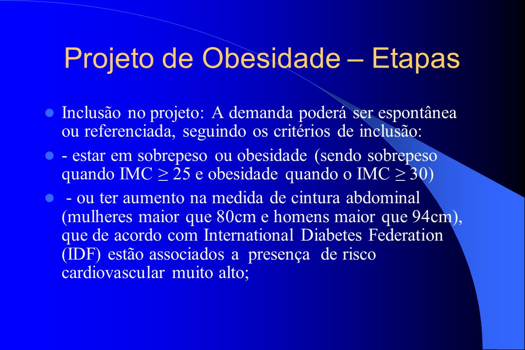 Projeto de Obesidade – Etapas