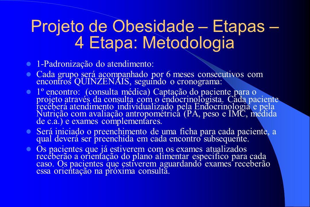 Projeto de Obesidade – Etapas – 4 Etapa: Metodologia
