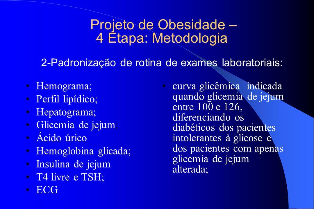 Projeto de Obesidade – 4 Etapa: Metodologia 2-Padronização de rotina de exames laboratoriais: