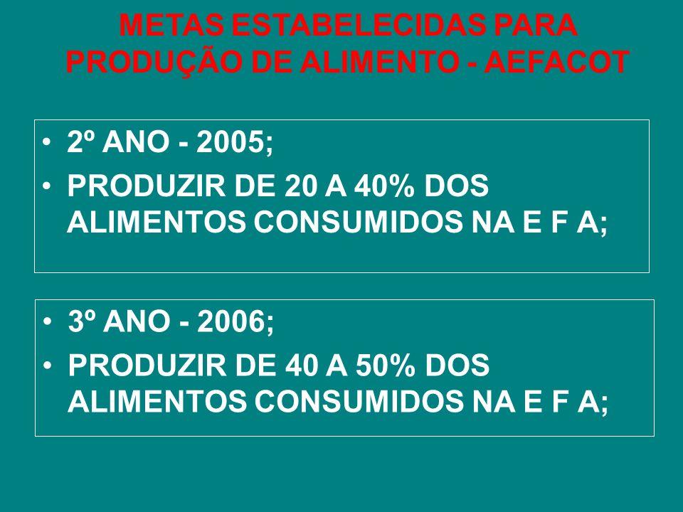 METAS ESTABELECIDAS PARA PRODUÇÃO DE ALIMENTO - AEFACOT