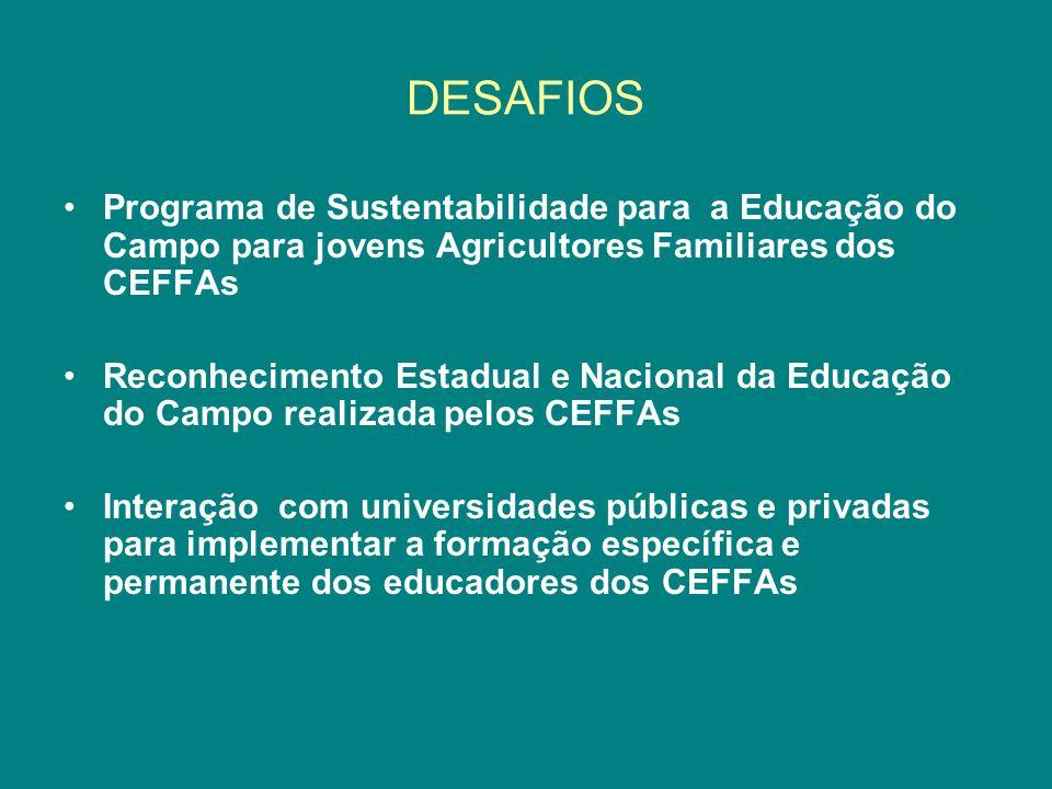 DESAFIOS Programa de Sustentabilidade para a Educação do Campo para jovens Agricultores Familiares dos CEFFAs.