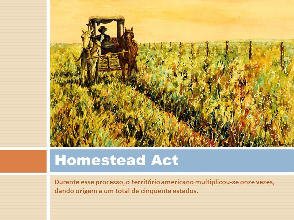 Homestead Act Durante esse processo, o território americano multiplicou-se onze vezes, dando origem a um total de cinquenta estados.