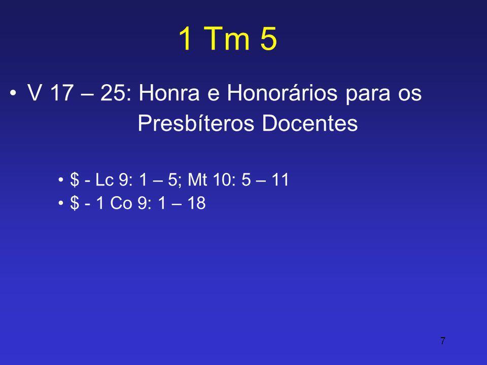 1 Tm 5 V 17 – 25: Honra e Honorários para os Presbíteros Docentes