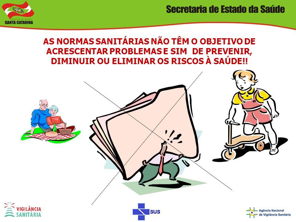 AS NORMAS SANITÁRIAS NÃO TÊM O OBJETIVO DE ACRESCENTAR PROBLEMAS E SIM DE PREVENIR, DIMINUIR OU ELIMINAR OS RISCOS À SAÚDE!!