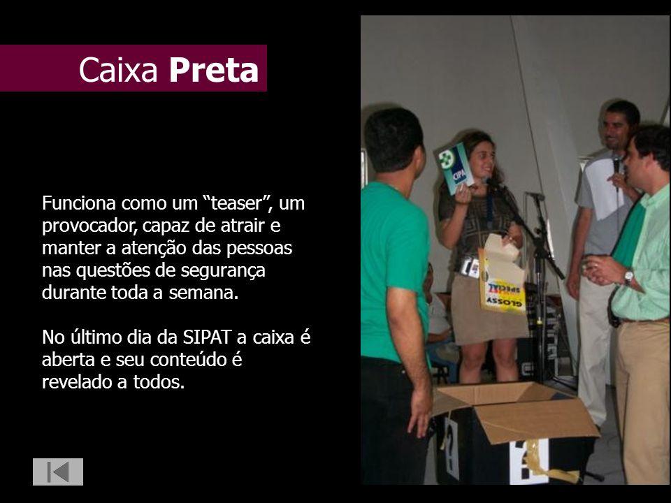 Caixa Preta Funciona como um teaser , um provocador, capaz de atrair e manter a atenção das pessoas nas questões de segurança durante toda a semana.