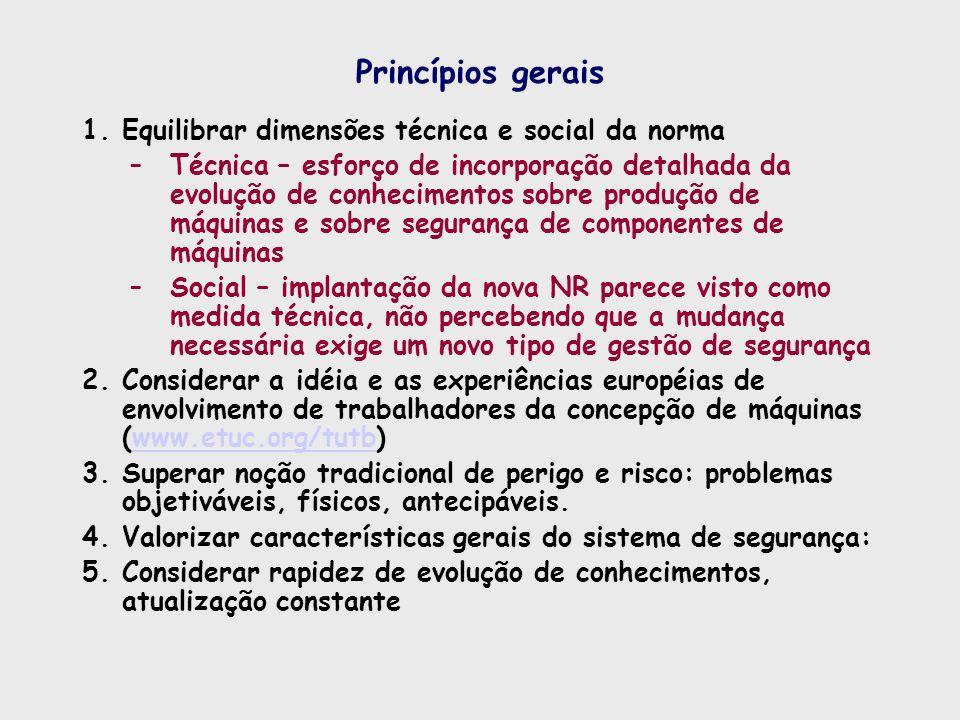 Princípios gerais Equilibrar dimensões técnica e social da norma