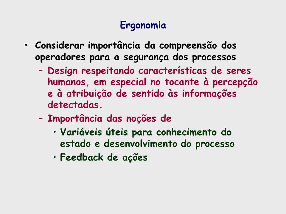 Ergonomia Considerar importância da compreensão dos operadores para a segurança dos processos.