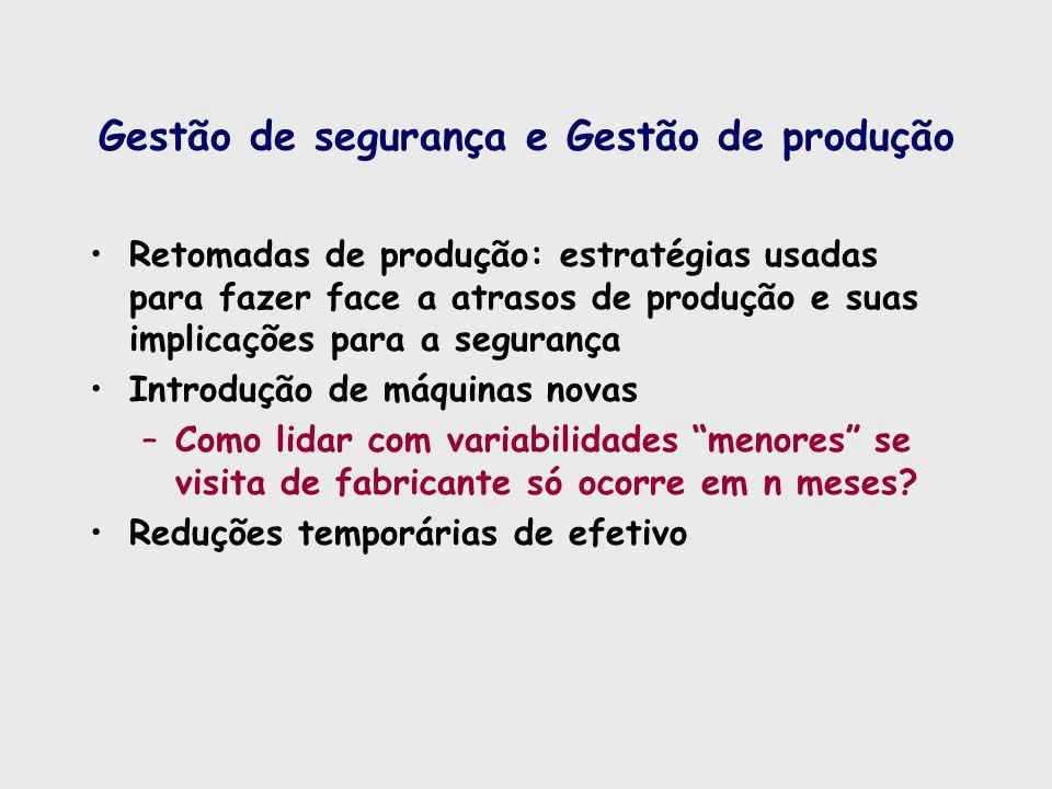 Gestão de segurança e Gestão de produção