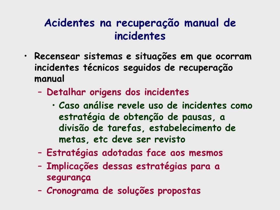 Acidentes na recuperação manual de incidentes