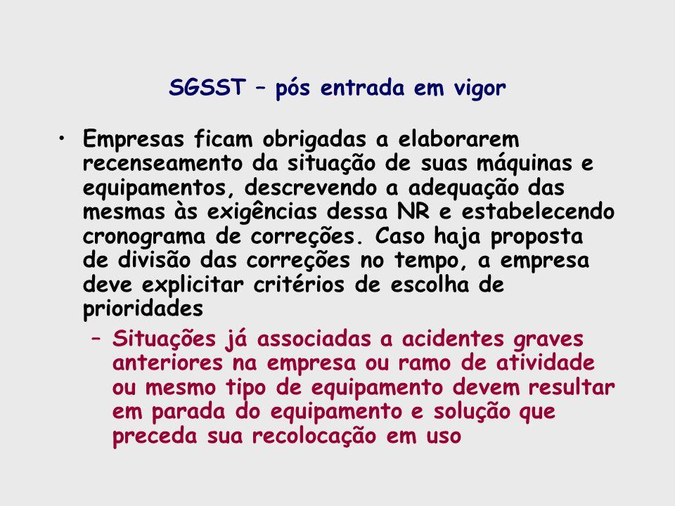 SGSST – pós entrada em vigor
