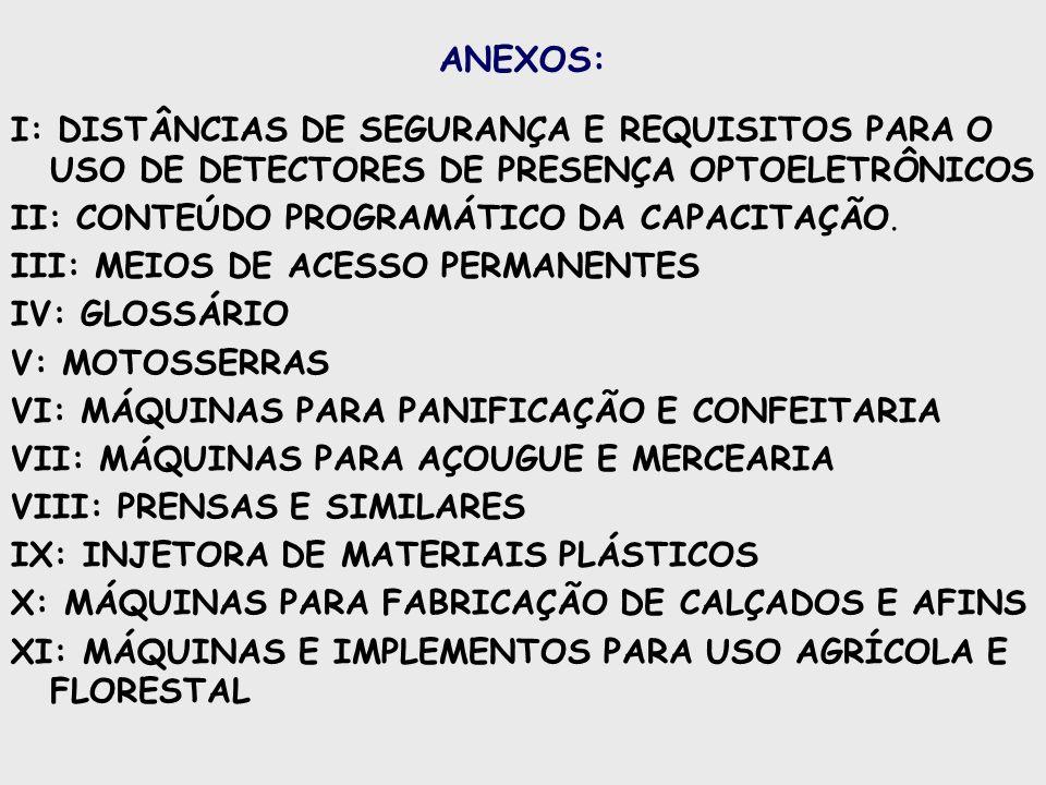 ANEXOS: I: DISTÂNCIAS DE SEGURANÇA E REQUISITOS PARA O USO DE DETECTORES DE PRESENÇA OPTOELETRÔNICOS.