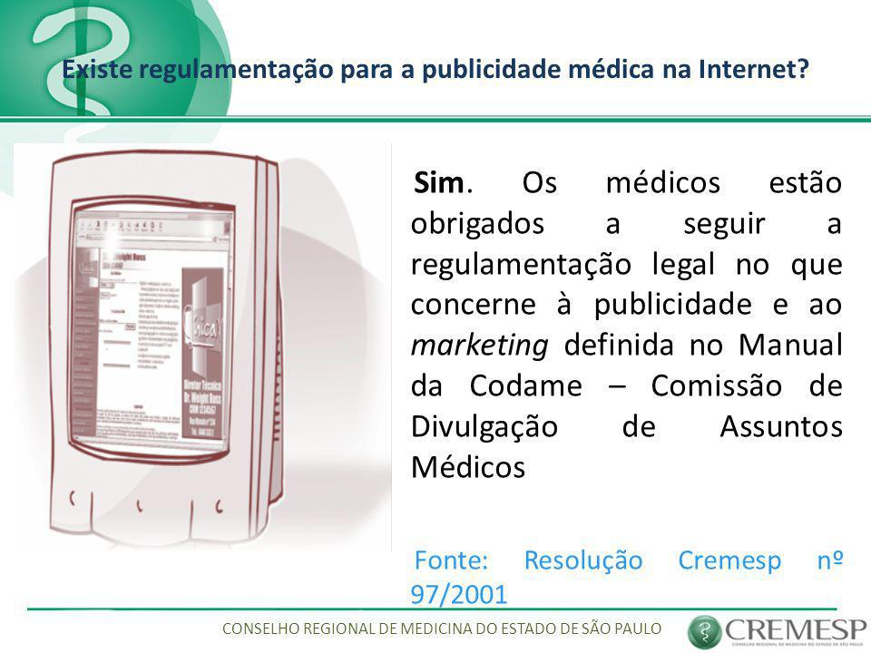Existe regulamentação para a publicidade médica na Internet