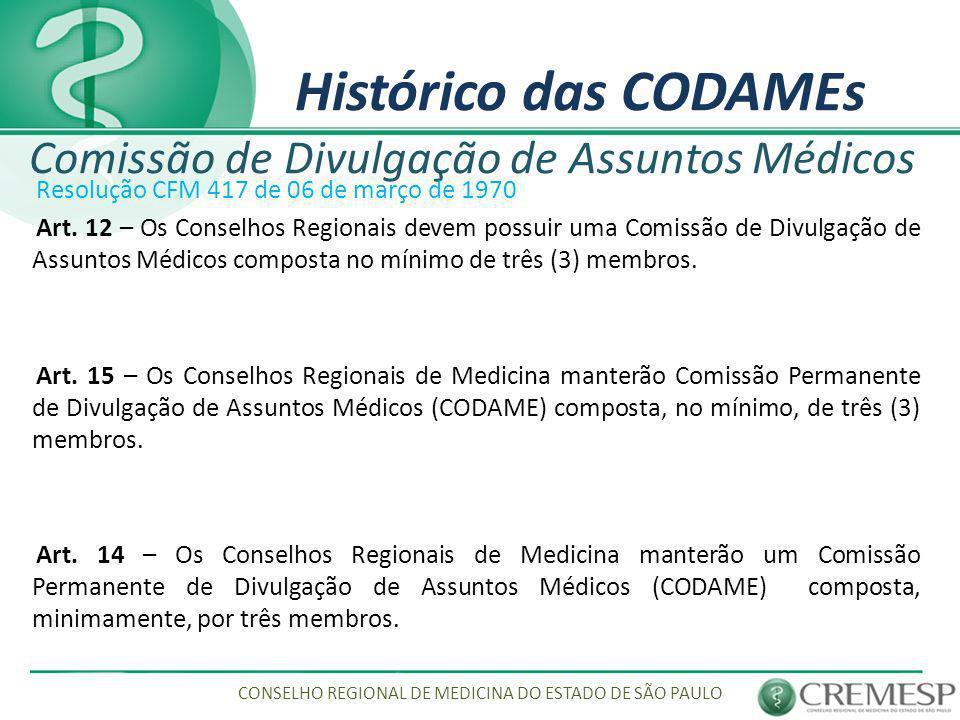 Histórico das CODAMEs Comissão de Divulgação de Assuntos Médicos