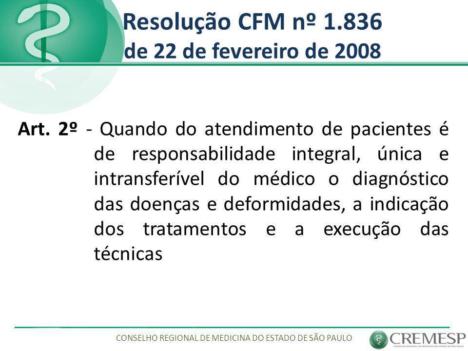Resolução CFM nº 1.836 de 22 de fevereiro de 2008