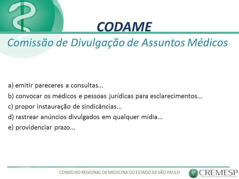 CODAME Comissão de Divulgação de Assuntos Médicos
