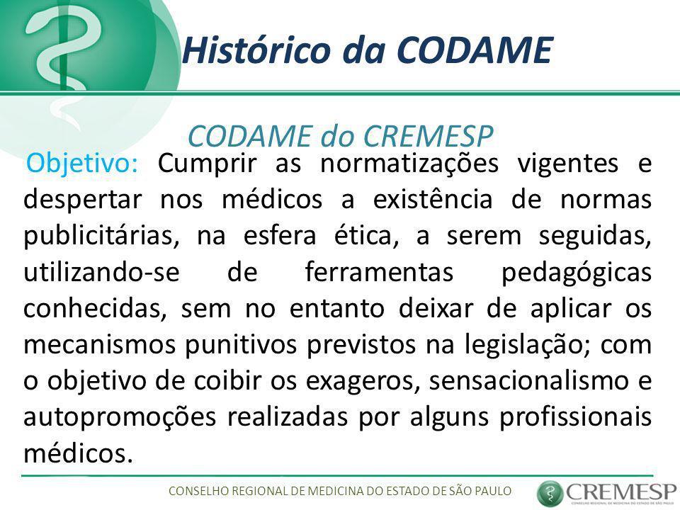 Histórico da CODAME CODAME do CREMESP