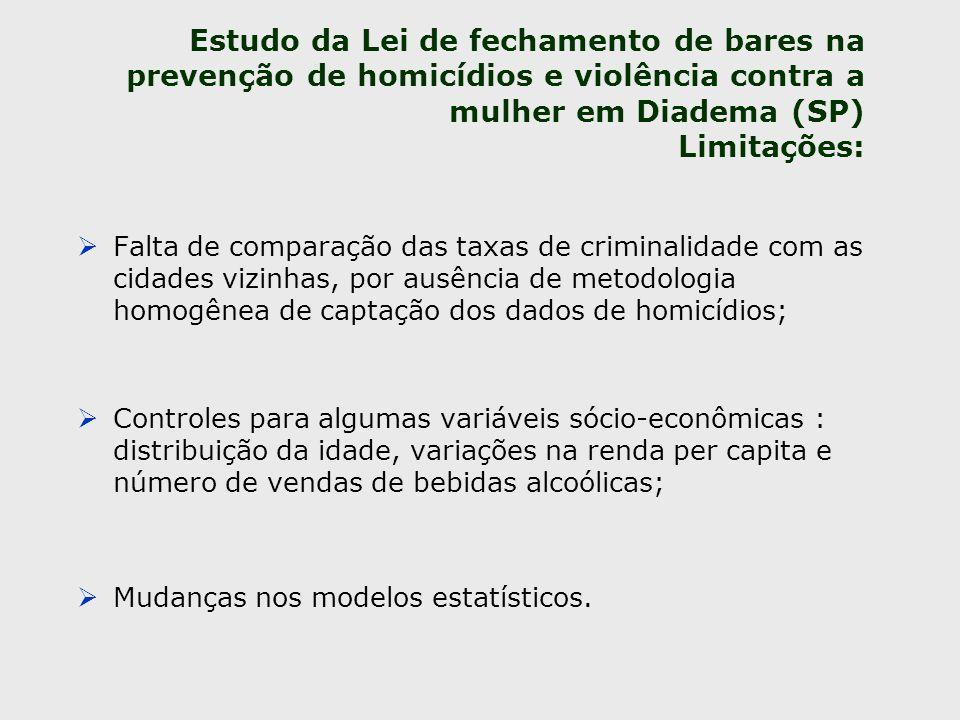 Estudo da Lei de fechamento de bares na prevenção de homicídios e violência contra a mulher em Diadema (SP) Limitações: