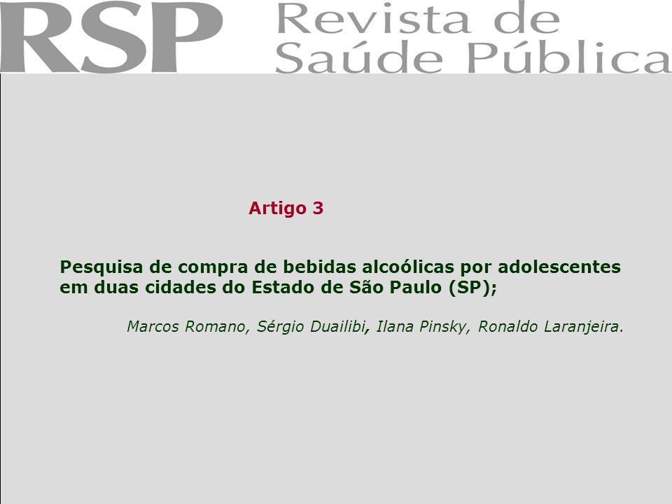 Pesquisa de compra de bebidas alcoólicas por adolescentes em duas cidades do Estado de São Paulo (SP);