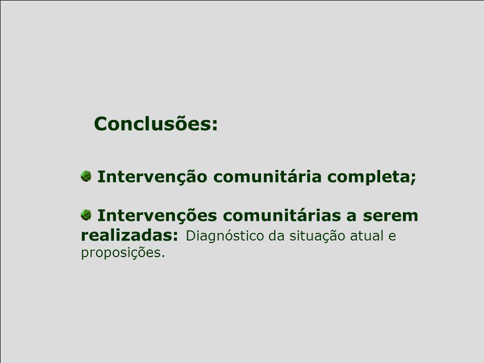 Conclusões: Intervenção comunitária completa;