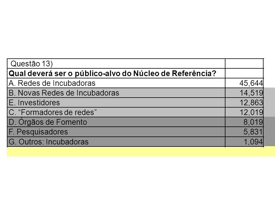 Questão 13) Qual deverá ser o público-alvo do Núcleo de Referência A. Redes de Incubadoras. 45,644.