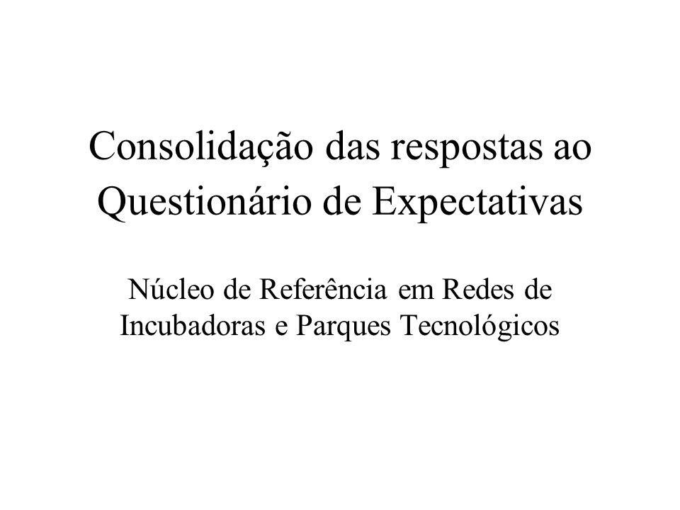 Consolidação das respostas ao Questionário de Expectativas