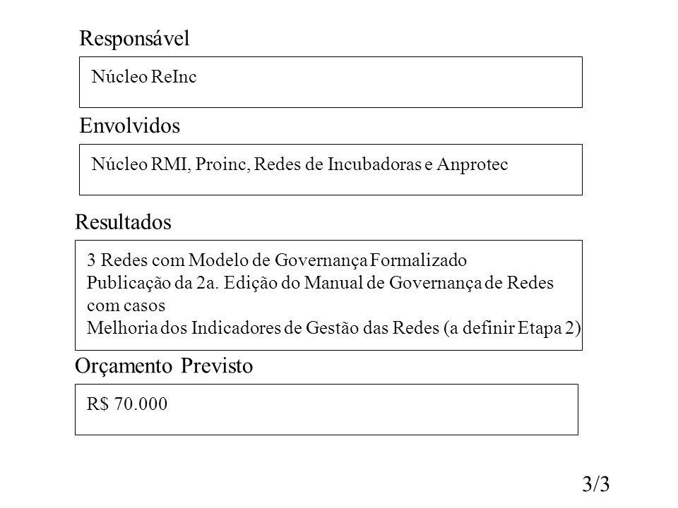 Responsável Envolvidos Resultados Orçamento Previsto 3/3 Núcleo ReInc