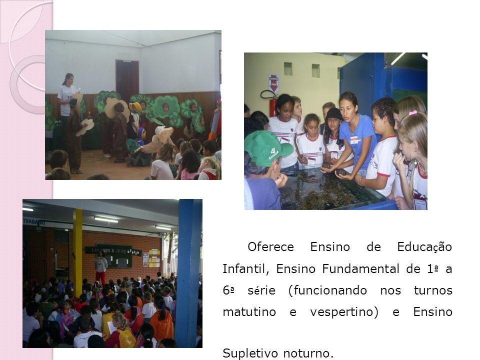 Oferece Ensino de Educação Infantil, Ensino Fundamental de 1ª a 6ª série (funcionando nos turnos matutino e vespertino) e Ensino Supletivo noturno.