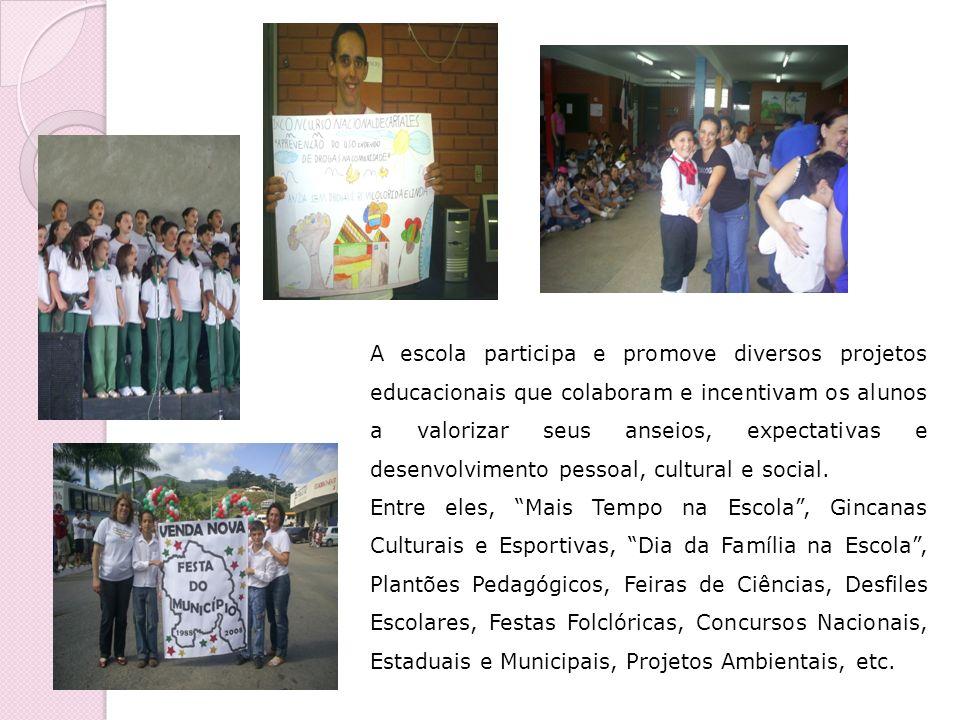 A escola participa e promove diversos projetos educacionais que colaboram e incentivam os alunos a valorizar seus anseios, expectativas e desenvolvimento pessoal, cultural e social.