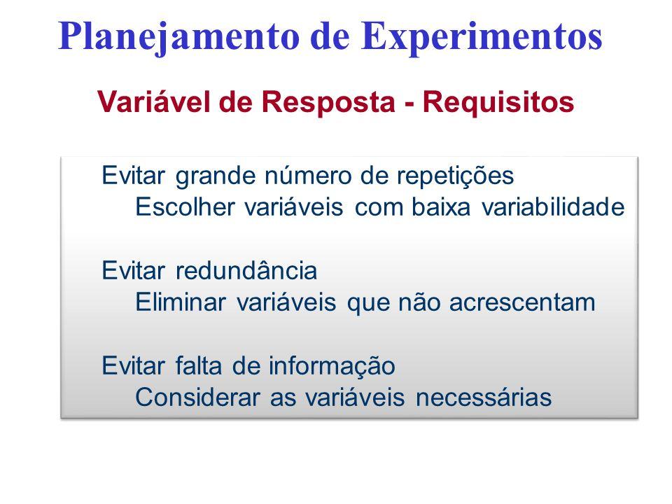 Planejamento de Experimentos Variável de Resposta - Requisitos