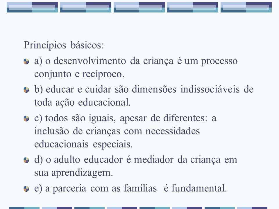 Princípios básicos: a) o desenvolvimento da criança é um processo conjunto e recíproco.