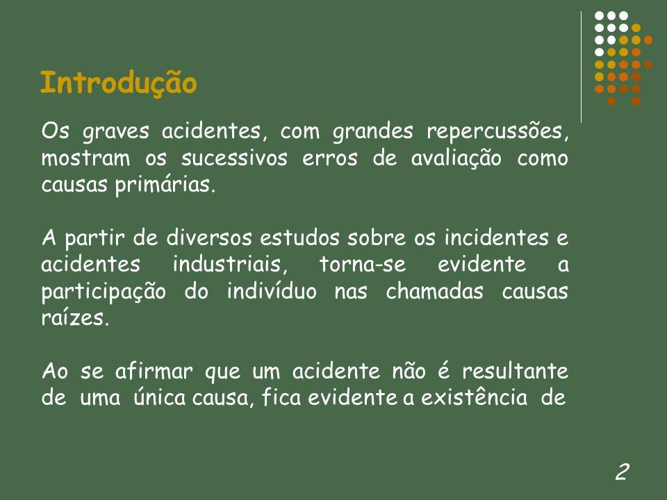 Introdução Os graves acidentes, com grandes repercussões, mostram os sucessivos erros de avaliação como causas primárias.
