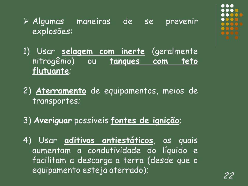 Algumas maneiras de se prevenir explosões: