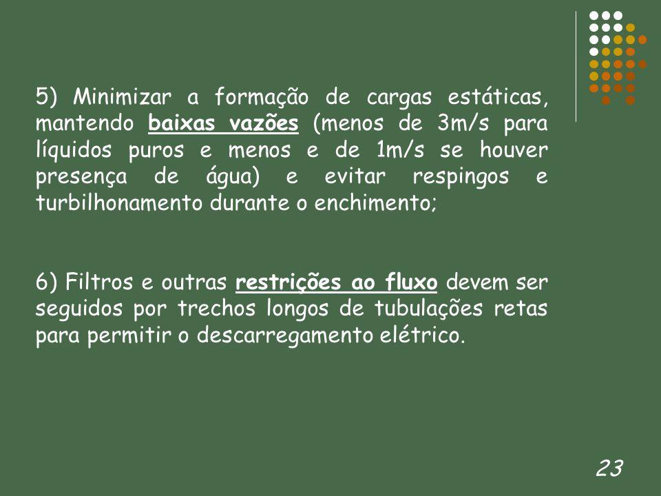 5) Minimizar a formação de cargas estáticas, mantendo baixas vazões (menos de 3m/s para líquidos puros e menos e de 1m/s se houver presença de água) e evitar respingos e turbilhonamento durante o enchimento;