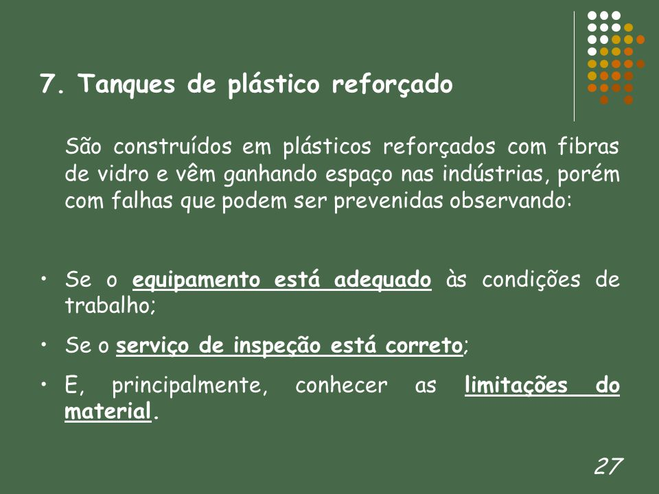 7. Tanques de plástico reforçado