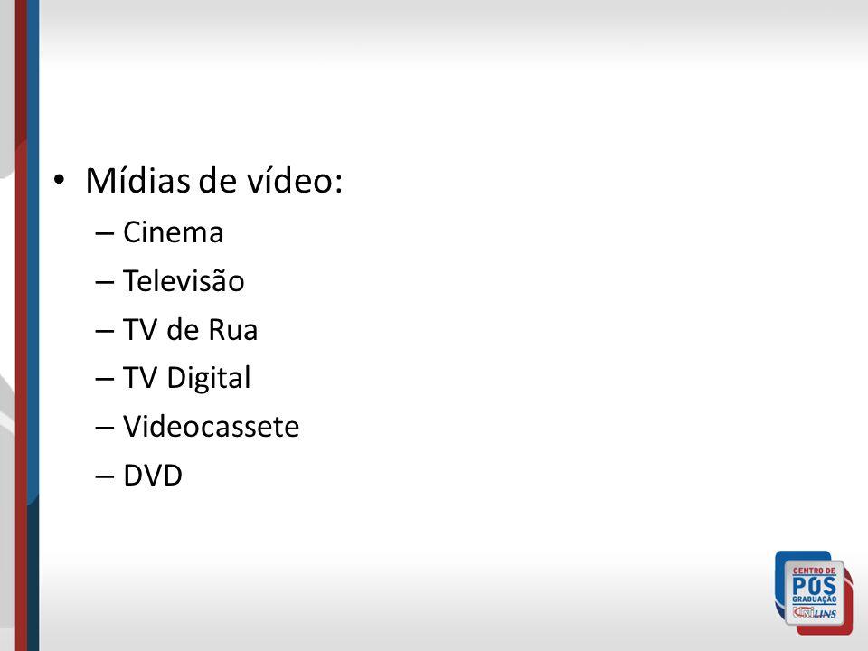 Mídias de vídeo: Cinema Televisão TV de Rua TV Digital Videocassete