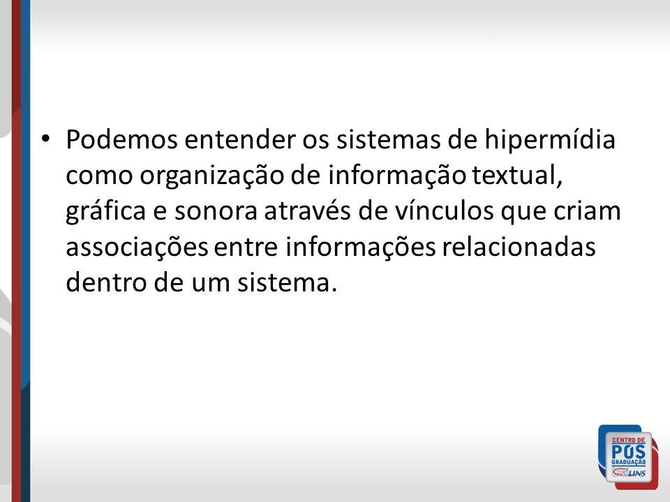 Podemos entender os sistemas de hipermídia como organização de informação textual, gráfica e sonora através de vínculos que criam associações entre informações relacionadas dentro de um sistema.