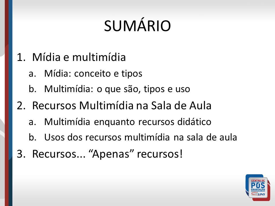 SUMÁRIO Mídia e multimídia Recursos Multimídia na Sala de Aula