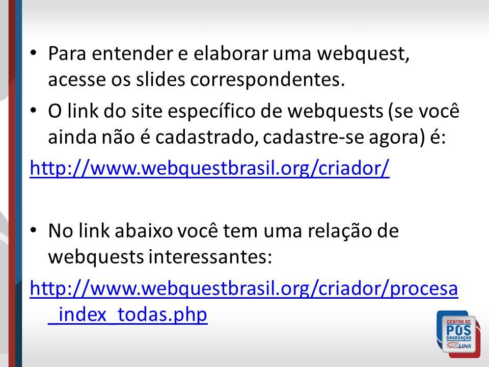 Para entender e elaborar uma webquest, acesse os slides correspondentes.