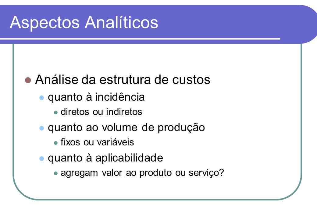Aspectos Analíticos Análise da estrutura de custos quanto à incidência