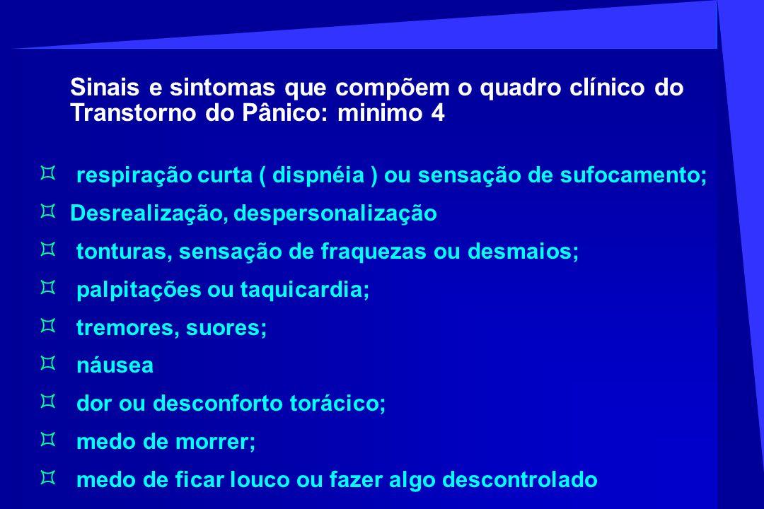 Sinais e sintomas que compõem o quadro clínico do Transtorno do Pânico: minimo 4