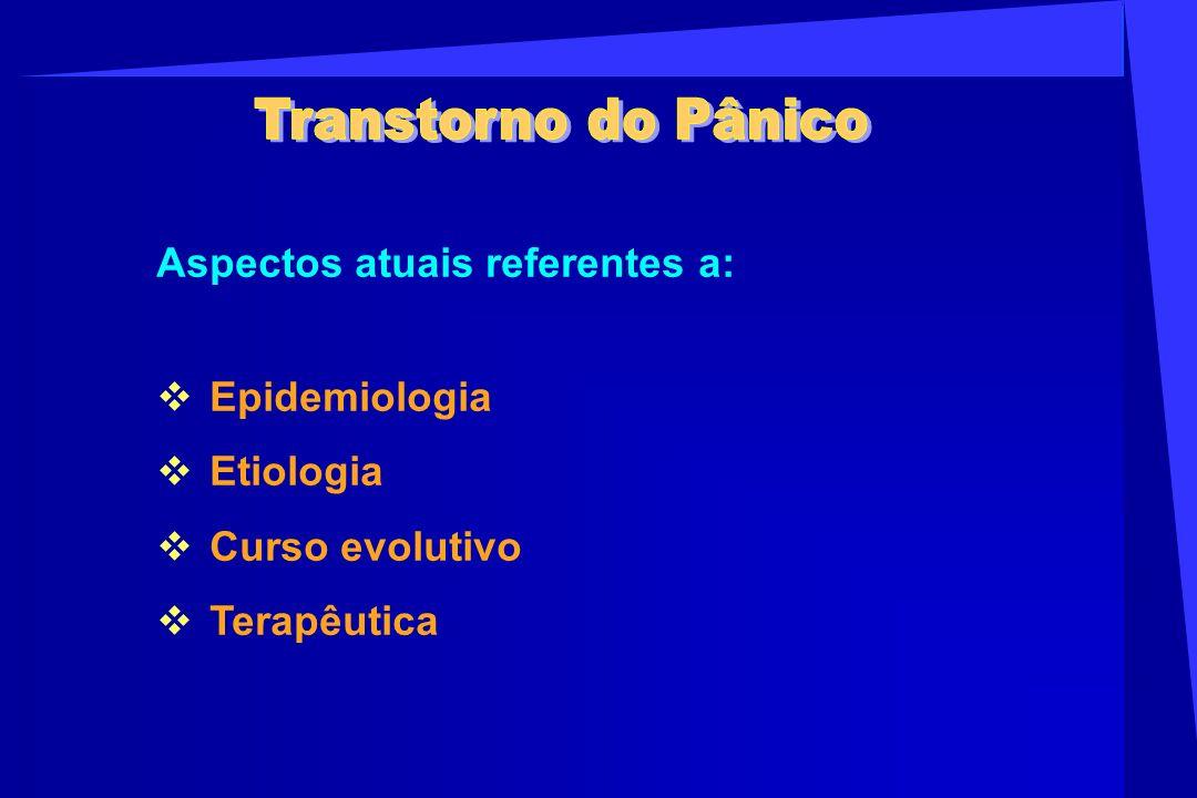 Transtorno do Pânico Aspectos atuais referentes a: Epidemiologia.