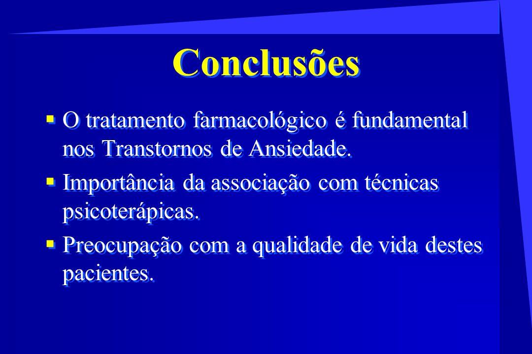 Conclusões O tratamento farmacológico é fundamental nos Transtornos de Ansiedade. Importância da associação com técnicas psicoterápicas.