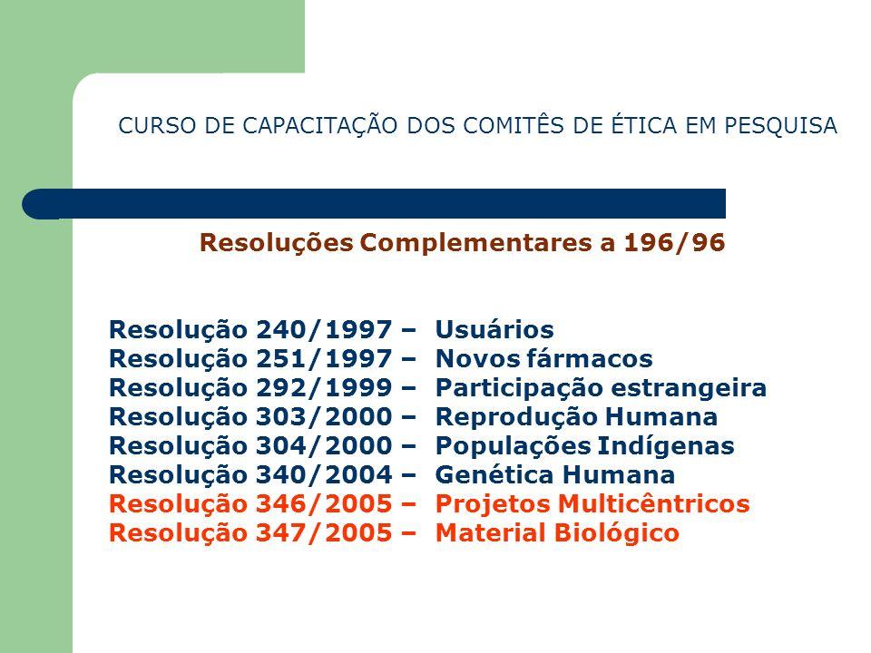 Resoluções Complementares a 196/96
