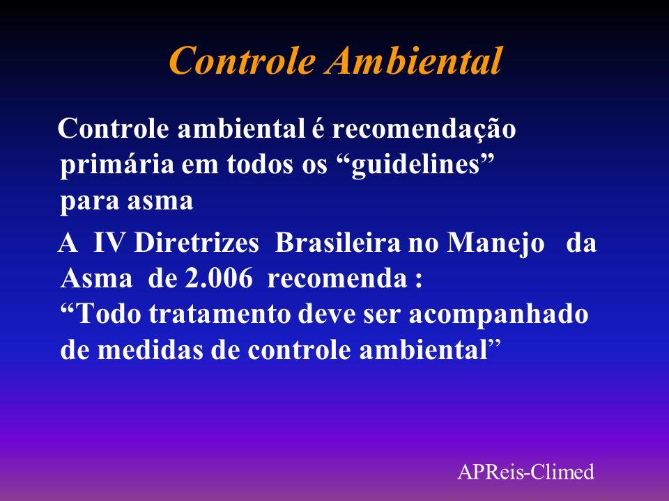 Controle Ambiental Controle ambiental é recomendação primária em todos os guidelines para asma.