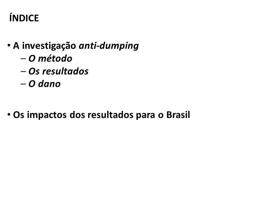 ÍNDICE A investigação anti-dumping. O método. Os resultados.