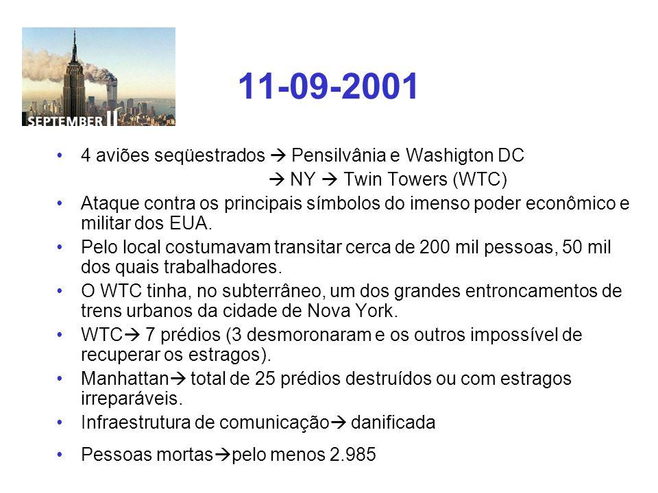 11-09-2001 4 aviões seqüestrados  Pensilvânia e Washigton DC