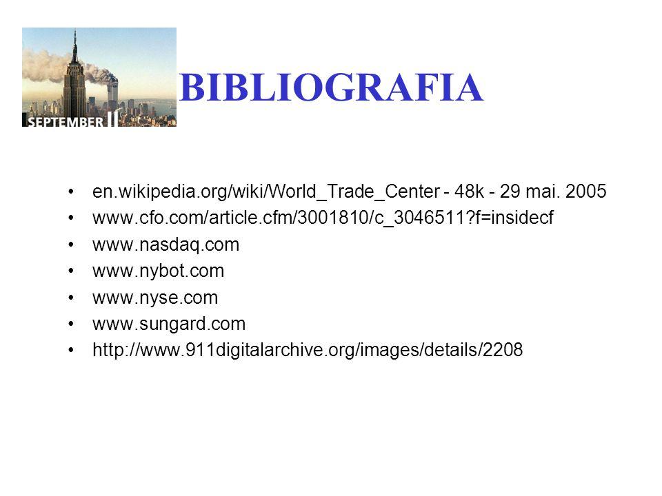 BIBLIOGRAFIA en.wikipedia.org/wiki/World_Trade_Center - 48k - 29 mai. 2005. www.cfo.com/article.cfm/3001810/c_3046511 f=insidecf.